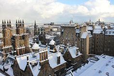 The snowy rooftops of Edinburgh