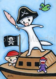 Ferret Art ACEO print Playroom Pirate Shelly от ShellyMundelArt