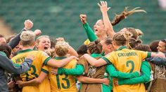 The Matildas celebrate after their 1-1 draw with Sweden that was enough to maintain their 2nd position in the group and a Round of 16 match against Brazil on Monday. Photo via Clare Polkinghorne. 18.06.15