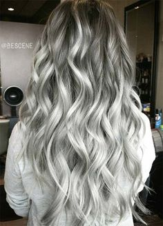 Trendy Hair Color Picture DescriptionA silver hair color is our future. That is why we have created a photo gallery featuring the sassiest looks with silver and we will also help you learn how to get and then how to maintain a super-chic silver hair hue. Hair Color 2017, Ombre Hair Color, Beautiful Hair Color, Cool Hair Color, Cool Tone Hair Colors, Hair Colours, Wavy Hair, Dyed Hair, Charcoal Hair