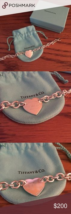 "NEW Tiffany&Co. heart bracelet Sterling silver Tiffany&Co. chain heart bracelet. Never worn and in excellent condition! Approx. 7.25"" long. Will come with drawstring bag, box, and Tiffany shopping bag. Tiffany & Co. Jewelry Bracelets"