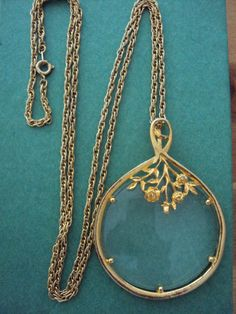 Vintage Gold Floral Magnifying Glass Necklace by theangelatmytable, $30.00