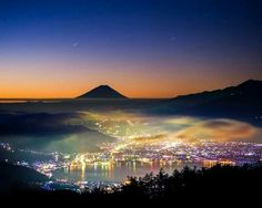Rainbow Dawn - Just before dawn. Night scape in rainbow colors. Places Around The World, Around The Worlds, Beautiful World, Beautiful Places, Stunningly Beautiful, Cool Pictures, Cool Photos, Monte Fuji, Photos Voyages