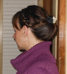 Updo, hairstyle. Inside out bun with Chinese Staircase braid on the side. BZenBeauty