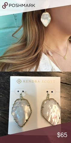 "Kendra Scott Corley Iridescent Ivory •	14K Gold Plated Over Brass • Size: 1.31""L x 1""W on earwire •	Material: ivory mother-of-pearl Kendra Scott Jewelry Earrings"