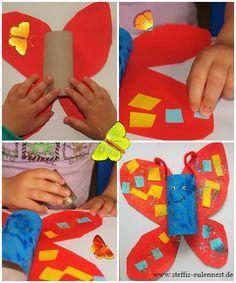 Basteln mit Kinder, Schmetterling, Sommer, Sonne, Basteln mit Kindern, Ü3, U3 , KITA, Krippe, Kleben, Toilettenpapierrolle, Basteln für Kinder, Basteln
