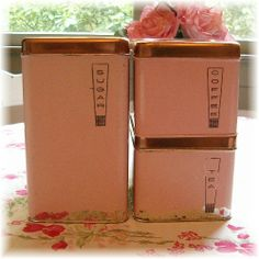 Old pink kitchen canisters . . .