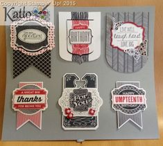 Packet of six Card Candy Embellishments - Chalk Talk, Oh My Goodies, Banner Framelits, Tag Talk, Stampin' Up!