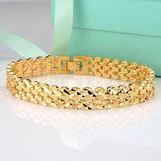 "18K Yellow Gold Filled Men/Women Bracelet 11Mm Unique Chain 8""Link Gf Jewelry"