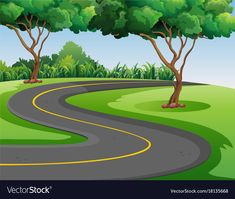 Empty road in the middle of the park vector image on VectorStock Landscape Illustration, Flat Illustration, Powerpoint Background Design, Empty Road, Traditional Staircase, Book Letters, Nature Scenes, Cute Cartoon, Wallpaper Backgrounds