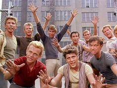 The Jets -- West Side Story (1961) -- From top left Anthony Teague, Harvey Evans, Tucker Smith, Bert Michaels, David L. Bean, Tommy Abbott and Eliot Feld. From L-R David Winters, Tony Mordente and Bobby Banas.