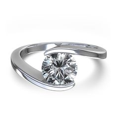 <3 De allermooiste verlovings- of trouwring !!!  -  Swirl bezel set diamond ring