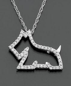 Diamond Necklace, 14k White Gold Dog Diamond Pendant (1/8 ct. t.w.) - Necklaces - Jewelry & Watches - Macy's Dog Jewelry, Jewelry Art, Scottie Dogs, Westie Dog, Diamond Dogs, White Dogs, Bernese Mountain, Mountain Dogs, Westies