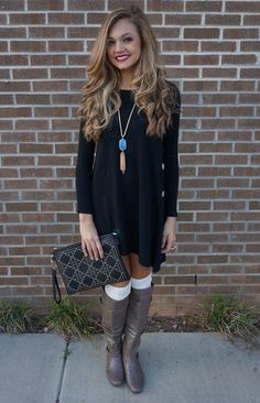 Fall outfit also wear ankle boots Cute Dresses, Casual Dresses, Cute Outfits, Boot Outfits, Bride Dresses, Fall Winter Outfits, Autumn Winter Fashion, Looks Style, Style Me