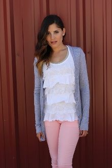 How to wear light pink jeans into fall- pair with boots.  ...