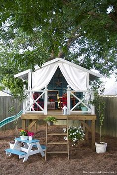 the inspired room backyard-tree-house designs. 2 – This Handmade Hideaway from The Handmade Home could inspire a whole summer's worth of backyard fun for your little ones! Outdoor Fun, Outdoor Spaces, Outdoor Living, Outdoor Seating, Outdoor Stuff, Outdoor Fabric, Backyard Seating, Outdoor Toys, Outdoor Ideas