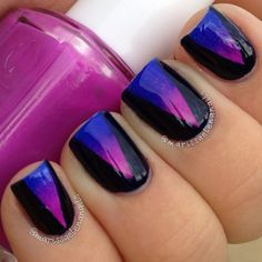Gorgeous dual-effect metallic nails. Get Nails, Love Nails, How To Do Nails, Hair And Nails, Prom Nails, Fabulous Nails, Gorgeous Nails, Pretty Nails, French Nails Glitter