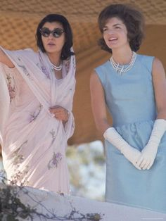 First Lady Jackie Kennedy Polo Ground on a Visit to India wearing a beautiful necklace of pearls.  Aren't they elegant?