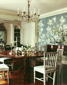 part III of the Top Twenty Interior Designers I Would Hire - laurel home | gorgeous Chinoiserie dining room with Swedish Gustavian Chairs and a round Mahogany table by Suzanne Rheinstein