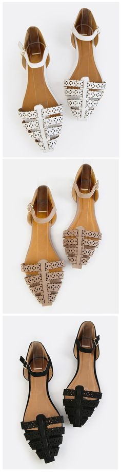 Get that girl next door look with the Pointy Toe Cut Out Flats! Features a pointy toe, cut out design, and an adjustable ankle strap. Finished with a flat heel and a slightly padded insole. Pair with a floral sun dress for that sweet and feminine ensemble!