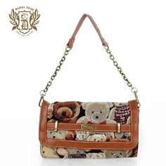Trendy European Small Polyester Casual Shoulder Bags Brown For Women