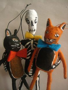 Halloween trio cats and skeleton by spun cotton ornaments by Maria Paula
