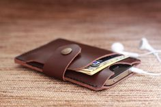 Chocolate Brown Leather iPhone Wallet Case 4/ 4s - Black Hand-Stitched - Mobile Accessories - Perfect Groomsmen or Bridesmaids Gifts