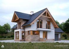 LK&1130 - zdjęcie od LK&Projekt - homebook Pole Building House, Pole Barn House Plans, Rustic House Plans, Pole Barn Homes, Cottage House Plans, Barn House Design, Modern House Design, Mobile Home Roof, Appartement Design