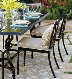 The perfect garden party. That's what Grayson calls to mind. This timeless dining collection is elegant without being fussy, with an airy lattice design that is achieved in solid cast aluminum. | Frontgate: Live Beautifully Outdoors