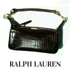 "RALPH LAUREN MOC CROC BURGUNDY BAG NWOT  RALPH LAUREN MOC CROC BURGANDY POCKETBOOK * BRASS HARDWARE ACCENTS * SPACIOUS INSIDE W/LAUREN INITIAL LINING * ONE ZIPPER INSIDE COMPARTMENT  * 9 1/2"" X 4 1/4"" X 3 1/2"" MEASUREMENTS  * HANDLES ACROSS CONNECT 16"" PERFECT CONDITION! NEVER EVER USED! Ralph Lauren Bags Shoulder Bags"