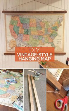 DIY vintage-style hanging map - great ideas to use as home decor or wall art for…