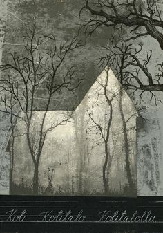 2015 - Piia Lehti, Kotitalo / Home serigrafia vanerille / silkscreen on plywood, 50 x 35 cm Plywood, Graphic Art, Shapes, Facades, Deco, Architecture, Barns, Prints, Pictures