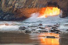 Pfeiffer Beach: Fire in the tunnel