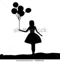 Αποτέλεσμα εικόνας για girl holding balloons silhouette