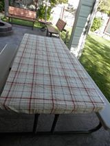 using a bed sheet as a outdoor table tablecloth, outdoor living, repurposing upcycling Patio Table, Picnic Table, A Table, End Table Makeover, Patio Makeover, Outdoor Tablecloth, Outdoor Tables, Twin Sheets, Bed Sheets