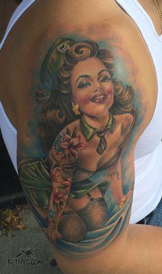 Tattoo by Nicole Nyc Tattoo, Tattoo Shop, Pin Up Tattoos, Cute Tattoos, Body Language Tattoo, Astoria Queens, Army Tattoos, Queens Nyc, Custom Tattoo