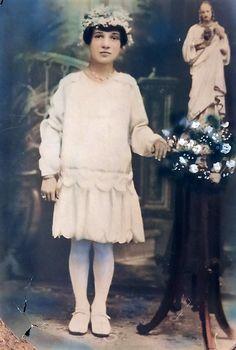 1920s Communion Girl, Hand Tinted.