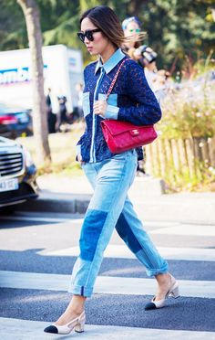 Patchwork. Blue. Denim. Contrasts. 50 Outfit Ideas You Haven't Thought Of via @WhoWhatWearAU