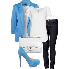 Blue Blazer, White Top with Skinny Jeans and White Clutch and Blue Pumps