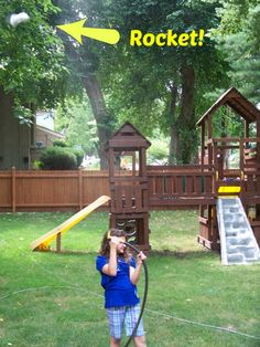 {Super Easy Water Rockets}  Create these fun little rockets from items around your house and then let the kids explore a little physics and cool off as they launch them!