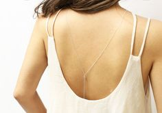 Small CZ Back Necklace // Bridal Jewelry for Low back Dress, Back necklace, Back chain Y Lariat Necklace Jewelry  EL022