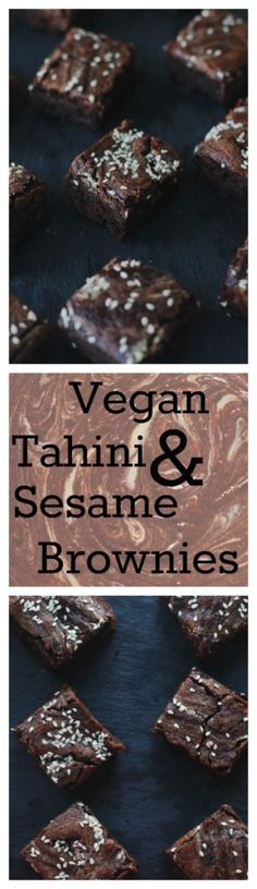 These brownies combine to flavors meant to me together: chocolate and tahini. You'll be in love at first bite. They are vegan and you would never even guess it. Get the recipe at www.twocityvegans.com