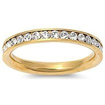 STR-0023 316L Gold IP Stainless Steel Eternity CZ Wedding Band Ring 3mm Sz 3-10; Comes With FREE Gift Box