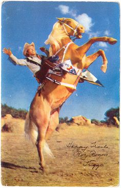 Vintage postcard Roy Rogers and Trigger cowboy Happy Trails actor
