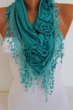 Turquoise cozy Rose Shawl/ Scarf - Headband -Cowl with Lace Edge - Trends. $19.00, via Etsy.