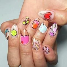 Crazed Candy Crazed - These Cartoon Nail Art Designs Are A Total Blast From The Past - PhotosCandy Crazed - These Cartoon Nail Art Designs Are A Total Blast From The Past - Photos Cute Nails, Pretty Nails, Nail Art Designs, Food Nail Art, Ice Cream Nails, Korean Nails, Nails For Kids, Creative Nails, Nail Tips