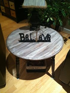 Painted table with paint and stain. Paint first. Then stain. Repeat till you are happy!