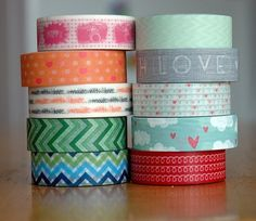Sara's pile of @Freckled Fawn Washi Tape.