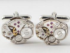 Steampunk cufflinks Helbros watch movements with gears on silver cuff links  #SteampunkCufflinks #SteampunkJewelry #SteampunkJewelrybyMariaSparks