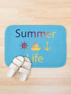 Summer Life Bath Mat by Emily Pigou. #summerlifebathmat #summerstyle #sea #bathmat #bathroom #anchor #boat #wheel #beach #beachlife #summertime #summerlife #redbubble #giftidea #gift #findyourthing #sailor #captain #nautical Boat Wheel, Gaming Posters, Nerd Gifts, Yoga Gifts, Life S, Mother And Father, Kidsroom, Book Lovers, Gifts For Him